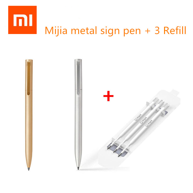 Original Xiaomi Mijia Metal Signe Pe Ink Japan Durable Signing PREMEC Smooth Switzerland MiKuni Black Refill Gold Silver original xiaomi mijia sign 9 5mm signing premec smooth switzerland refill mikuni japan ink add mijia black refill