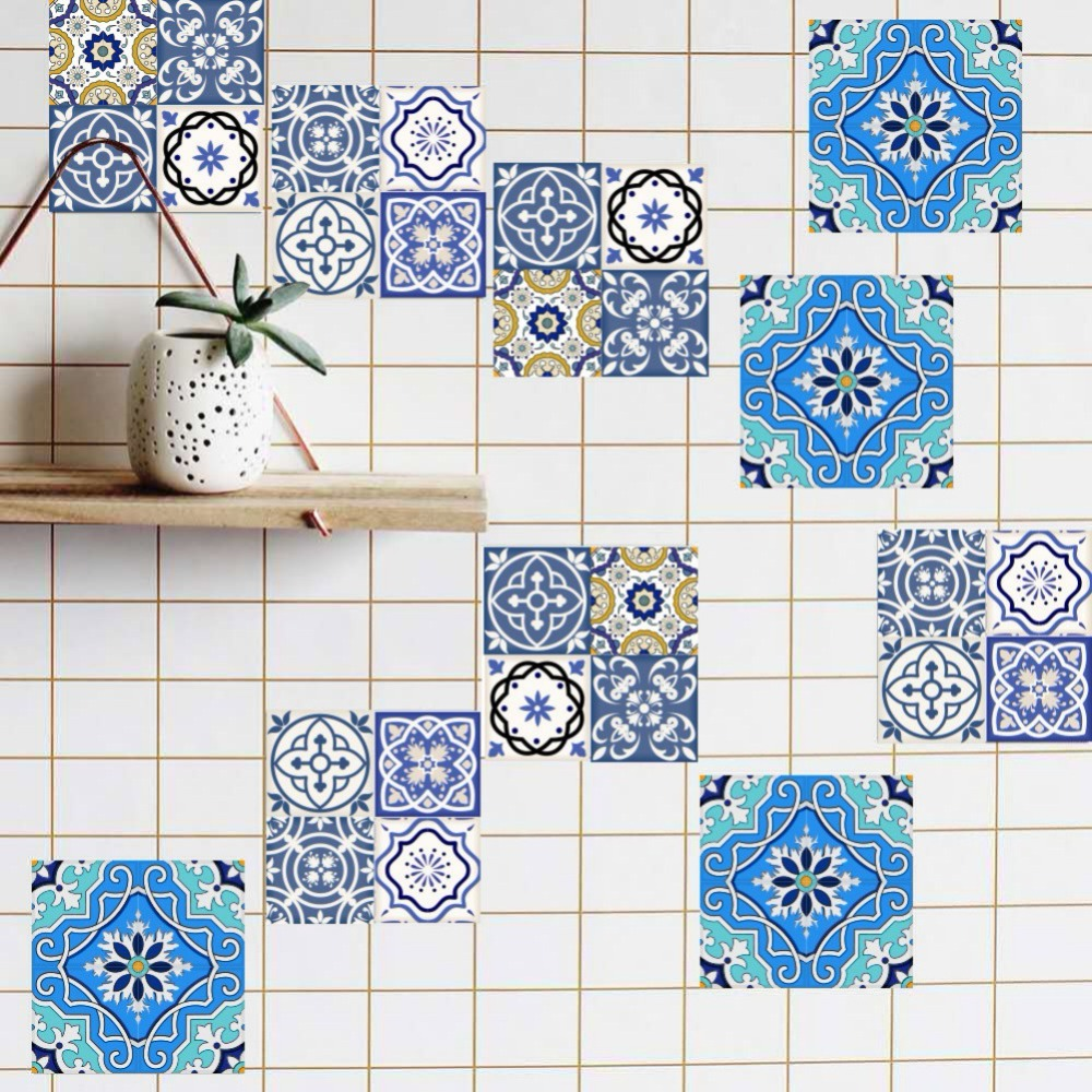 20pc 10/15/20cm DIY Mosaic Wall Tiles Stickers Waist Line Wall Sticker Kitchen Adhesive Bathroom Toilet Waterproof PVC Wallpaper sweet branch bird pattern removeable toilet wall sticker