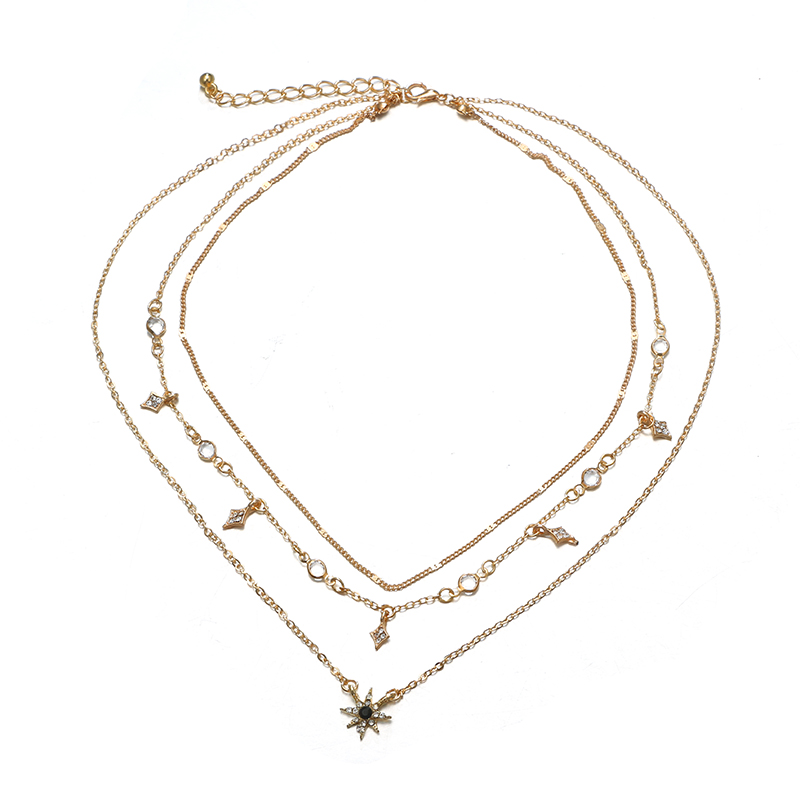 Tocona Charm Shiny Gem Crystal Star Bead Chain Tassel Pendant Multilayer Clavicle Neckace Women Boho Gold Party Jewelry Gift6568 2