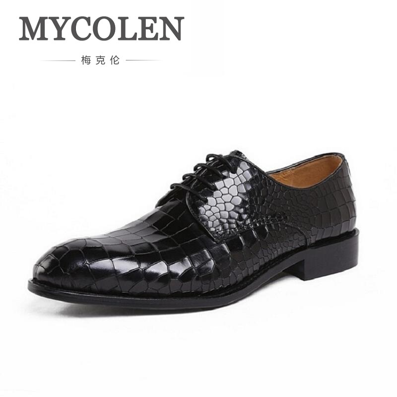 MYCOLEN Fashion Leather Lace Up Men Shoes Casual Business Brand Men Wedding Shoes Luxury Party Men Dress Shoes sapato de noiva mycolen fashion brand men shoes winter handsome business casual shoes breathable men s leather shoes man derby sapato social