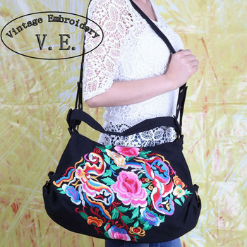Women Handbag Embroidery Bag Embroidered Shoulder Messenger Bags Handmade Canvas Shopping Travel Beach Bag