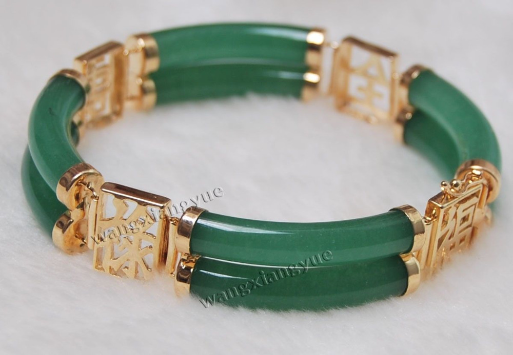 2Rows Natural Green Jade Link Jewelry Bracelet AAA Grade Free Shipping