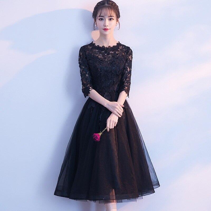 Banquet   Bridesmaid     Dresses   2019 New Fashion Elegant Wedding Party   Dresses   Black Half Sleeve Illusion O-neck Knee Length