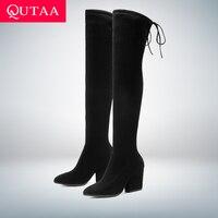 QUTAA 2019 Women Shoes Over The Knee High Boots Pointed Toe Autumn Winter Shoes Women Hoof Heels Flock Women Boots Size 34 43