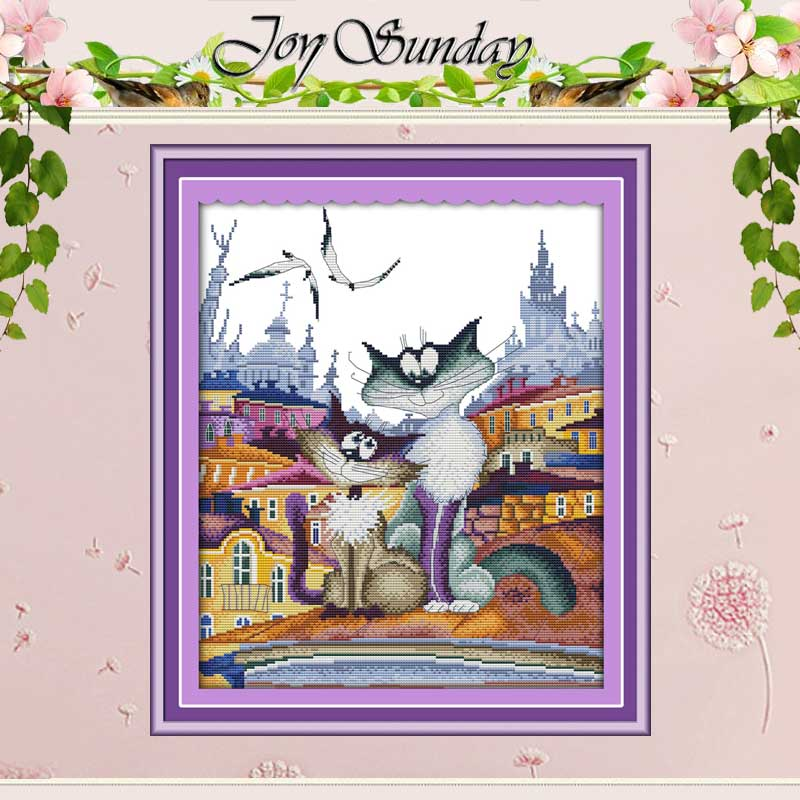 Wspaniały Miasto Kot Counted Cross Stitch 11CT 14CT Cross Stitch Zestawy Hurtownie Chiński Cross-stitch Zestawy Haft Robótki