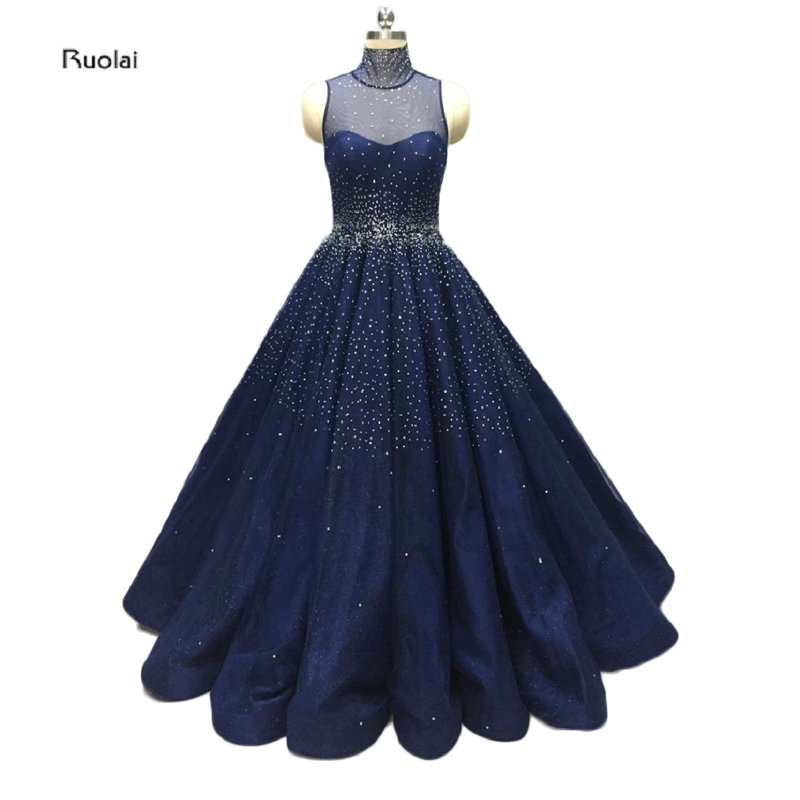 2017 Custom Made Stunning Navy Blue   Evening     Dresses   High Collar Sheer Back Sleeveless Crystals Wedding Party   Dress   Real Picture