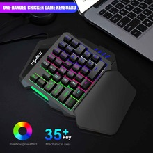 Yoteen PUBG Mini One Handed Gaming Keyboard for Mobile Phone Game 35 Keys with Rainbow Glow Backlit Ergonomic Hand Rest Fn Multi