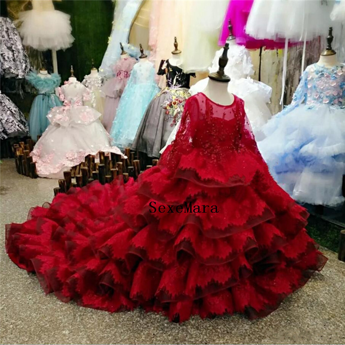 Red Lace Tiered Girls Clothes Long Sleeves Kids Formal Wear Jewel Applique Flower Girl Dresses for Wedding with Long Train-in Dresses from Mother & Kids