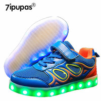7ipupas Lovely Butterfly Luminous sneakers kids eur 25 37 boys&girls Wear resisting lighted Child sneakers USB led glowing shoes