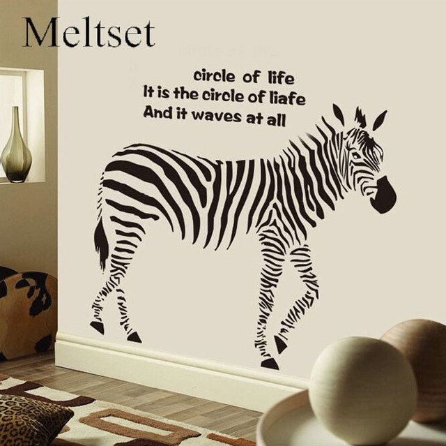 Black White Zebra Wall Sticker Artistic Animal Wallpaper Modern Inspiring  Quote Printed Living Room Decal Decoration