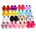 2017 Recién Llegado de 29 Colores Del Caramelo de la Mariposa-nudo Moda Bebé Mocasines Hechos A Mano Únicos Botas de Ante Zapatos de Prewalker Suave