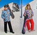 Para 30 grau crianças Outerwear quente casaco desportivo terno crianças roupas de esqui impermeável à prova de vento menino casacos para 3 - 14 T