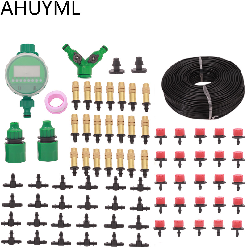 30M Garden DIY Micro Drip Irrigation System Plant Self Automatic Watering Timer Garden Hose Kits With Adjustable Dripper Spray