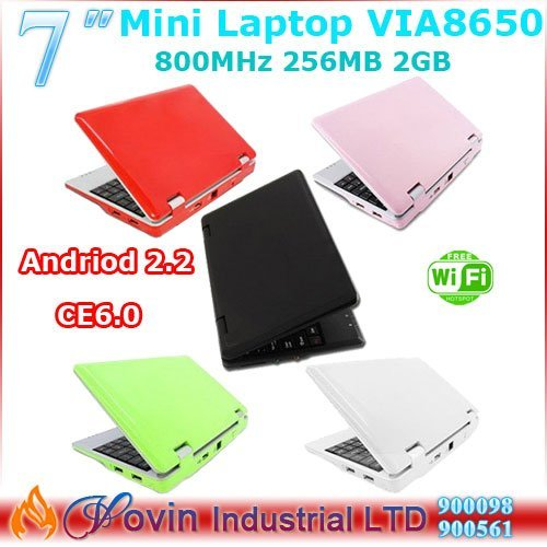 "Free Shipping 7"" CE 6.0 or Andriod2.2 4GB RJ45 Wifi Mini Notebook"