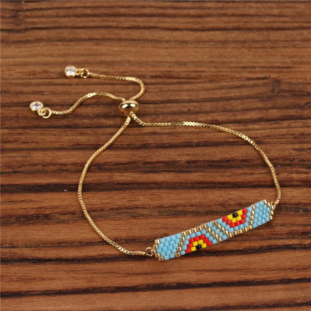 Trendy Miyuki Glass Beads Handmade Bracelet Women Charm Asymmetric Evil 39 s Eye Pattern Bracelets Female Girl Friendship Jewelry in Chain amp Link Bracelets from Jewelry amp Accessories