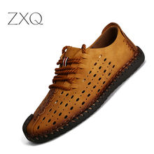 ZXQ Summer Men Casual Shoes Microfiber Leather Breathable Hole Comfort Leisure Footwear For Men Lace Up Man Shoes Drop Shipping цена