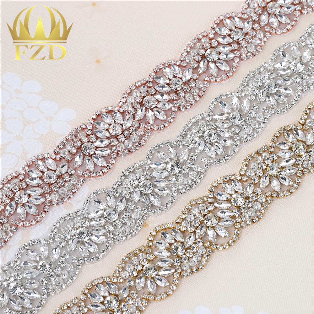 10 yards Wholesale 1 Yard Sewing On Hot Fix Sliver Beaded Crystal Rhinestone Applique and
