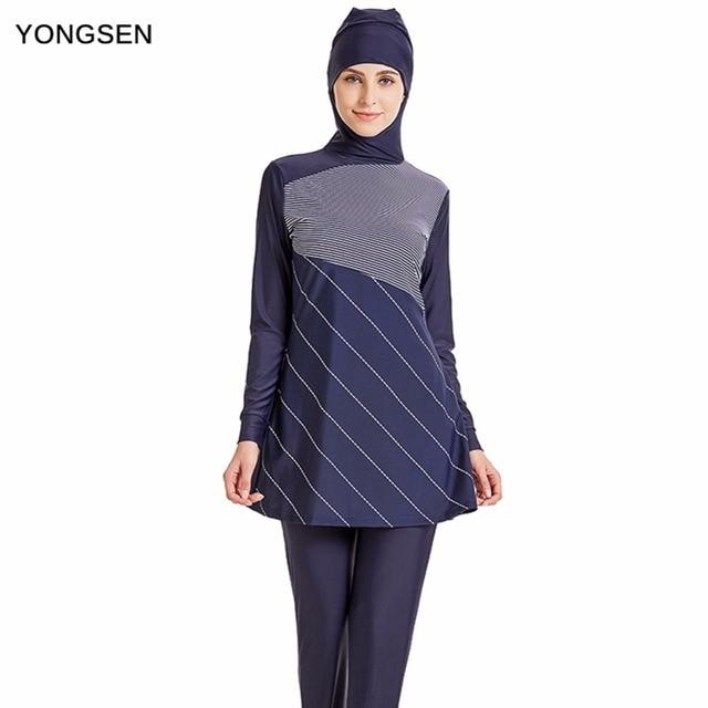 fada2ae1a5 YONGSEN Modest Muslim Swimwear Hijab Muslimah Women Plus Size Islamic Swim  Wear Short-sleeved Swimsuit Surf Wear Sport Burkinis