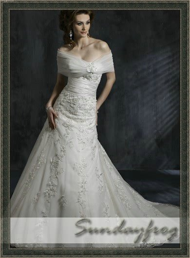 Free Shipping New Arrival A Line Strapless Ivory Beaded Lace Tulle Wrap Wedding Dresses Bridal