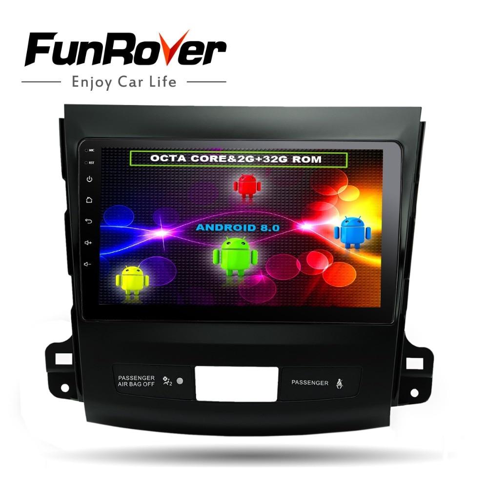 Funrover 8 noyaux 9 Android8.0 Voiture dvd radio GPS navi multimédia pour Mitsubishi Outlander 2006-2014 Peugeot 4007 citroen C-crosser