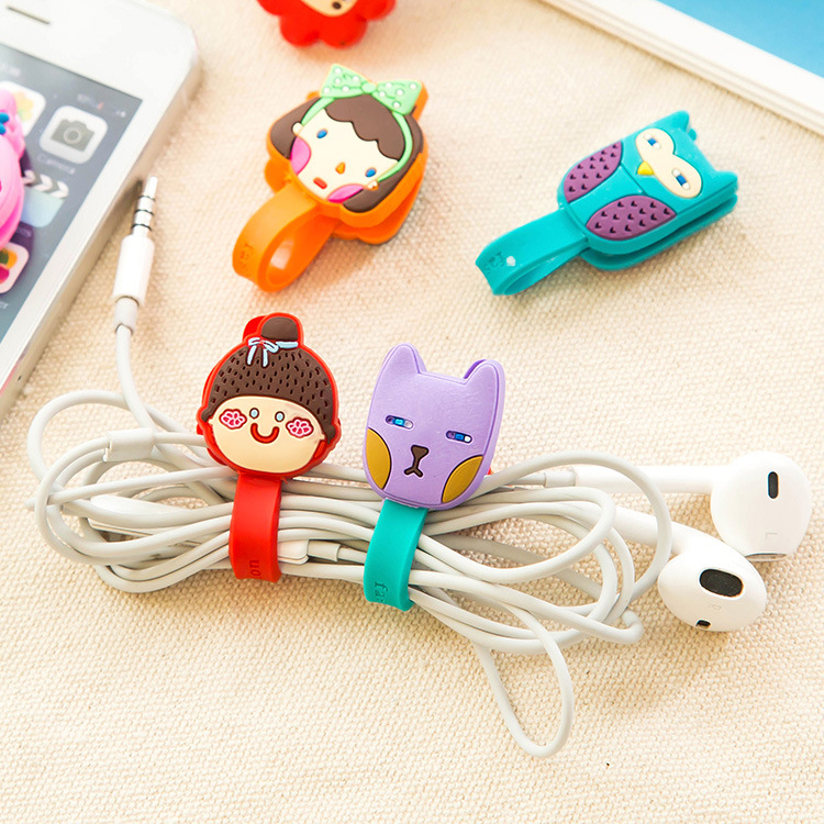New 1Pcs Fashion Cartoon Animal Girl Fox Press Buckle Bobbin Winder Ear Mechanism Storage Line Multi Function Receive Bag Clip