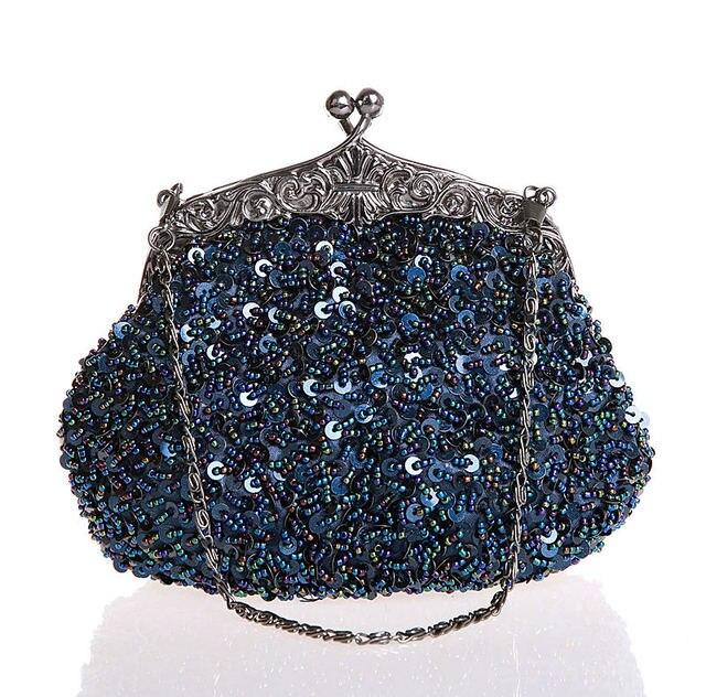 حقيبة يد نسائية مطرزة ومطرزة بالخرز باللون الأزرق الداكن ، حقيبة يد بمقبض لحفلة الزفاف ، حقيبة مكياج ، محفظة ، شحن مجاني 03162 G