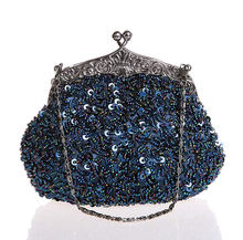 Navy Blue Ladies Beaded Sequined Wedding Evening Bag Clutch handbag Bridal Party Makeup Bag Purse Free Shipping 03162 G
