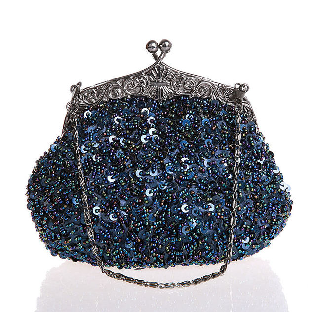89282ca398dd Navy Blue Ladies Beaded Sequined Wedding Evening Bag Clutch Handbag