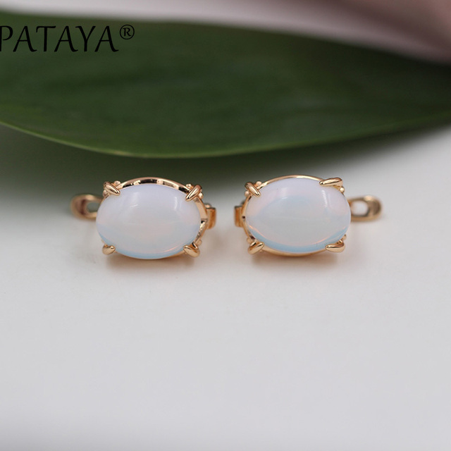 PATAYA New RU Hot Multicolor Oval Natural Stone Big Earrings 585 Rose Gold Opal Earrings Women India Onxy Party Wedding Jewelry