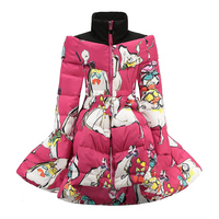 Floral Kids Winter Clothing A line Stand Collar Girls Winter Parkas Cotton Padded Bowknot Children Outwear Coat Snow Wear Z439