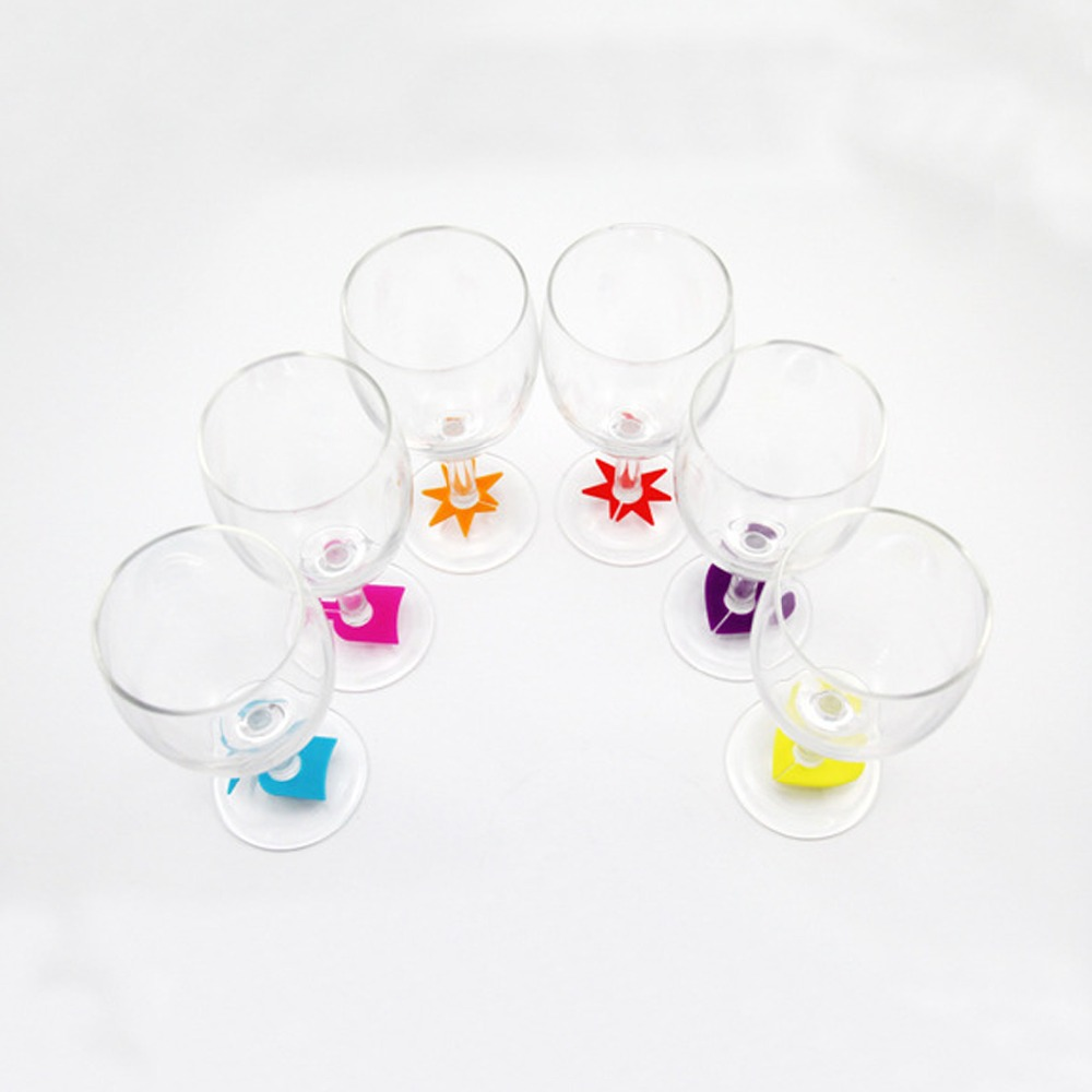 8pcs set silicone party wine glass bottle drink cup marker tags cup heart star party decoration. Black Bedroom Furniture Sets. Home Design Ideas