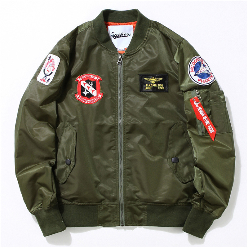 Japanese Men Clothing US Air Force one MA1 Navy military uniform flight  jacket army man Bomber Outerwear letterman varsity Coat-in Jackets from  Men s ... 935d631c246