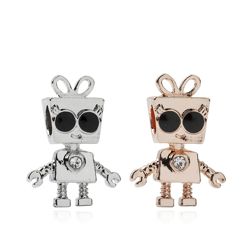 Shop For Cheap 5pcs Htevak Original Rose Gold/silver Charm Bella Bow Robot With Crystal Sunglasses Beads Fit Diy Girl Pandora Bracelet Jewelry Ample Supply And Prompt Delivery Jewelry & Accessories Beads