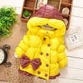 2016 New Winter Sweet Little Girls With Hooded Double Breasted With Bow Cotton Coat Children Polka Dot Short Solid Jacket