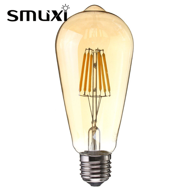 Smuxi Dimmable LED Light Vintage Edison Bulb E27 ST64 6W Squirrel Cage Emergy Saving LED Lamp For Pendant Lighting AC220V винтажная лампа эдисон steeple squirrel cage st64 19 нитей