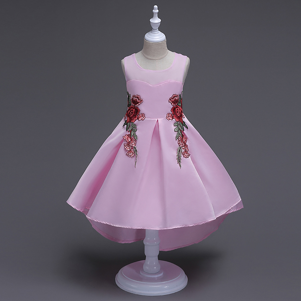 Kids Short Front Long Tail Wedding Dresses Satin Sleeveless Children Red White Pink Princess Floral Embroidery Prom Dress шапка kusto steam short red white