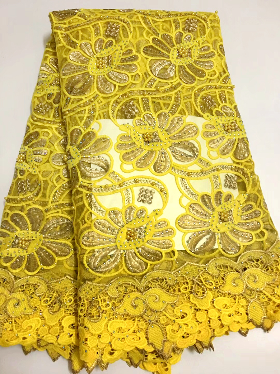 African Lace Fabrics High Quality French Tulle Lace Fabric yellow color Swiss Voile With Stones Swiss Voile Lace In Switzerland