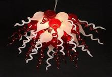 Christmas Decoration Forsted White and Red LED Lights Murano Glass Chandelier Light Fixture