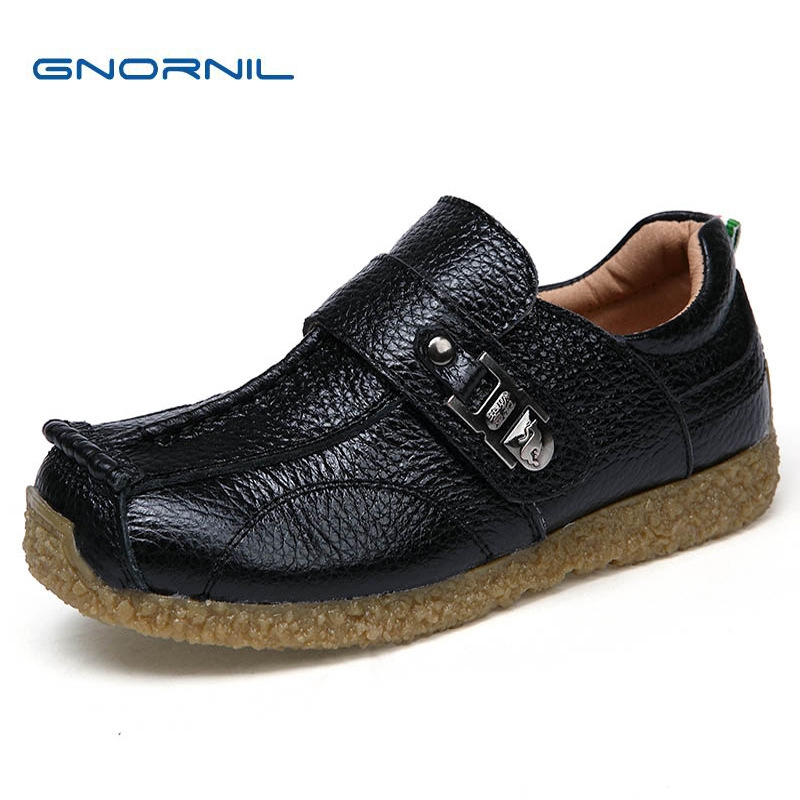 GNORNIL Brand 2018 Kids Shoes Genuine Leather Boys Shoes Fashion Soft Sole Cowhide Children Casual Shoes Non-slip Black EU26-37