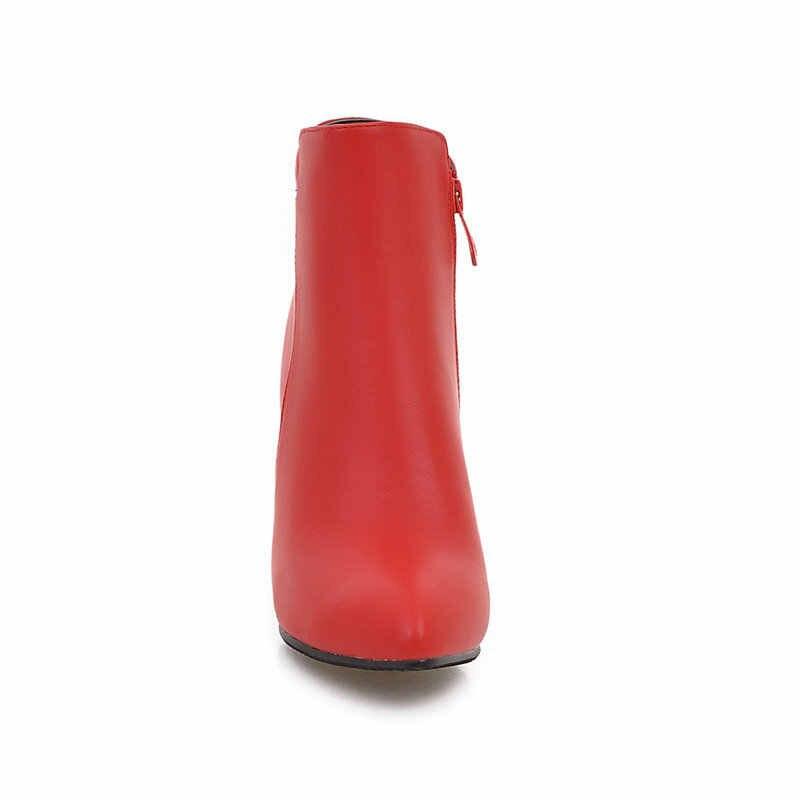 Seksi Ince Yüksek Topuk yarım çizmeler Moda Yan Fermuar Sivri burun Kış Kadın Çizmeler Gri Siyah Kırmızı
