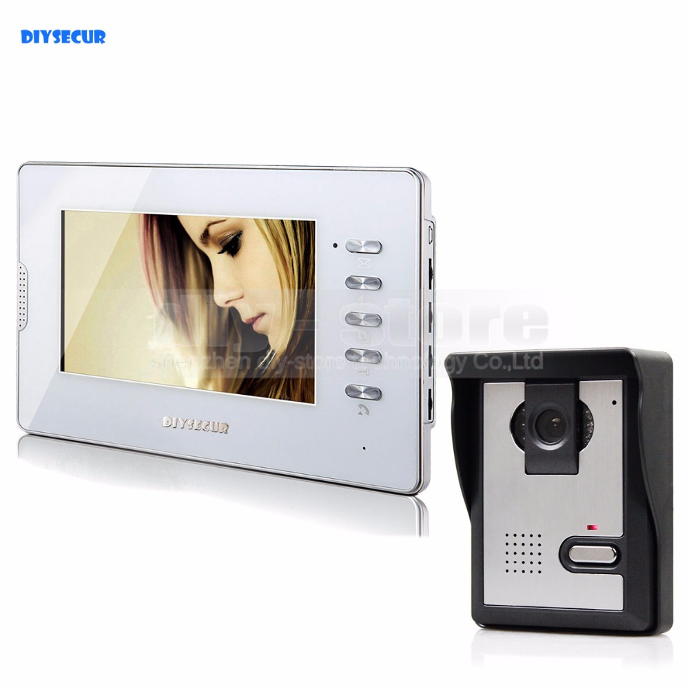DIYSECUR Video Door Phone Doorbell Video Intercom System IR Night Vision Camera Monitor 7 TFT Color Display diysecur 1024 x 600 7 inch hd tft lcd monitor video door phone video intercom doorbell 300000 pixels night vision camera rfid