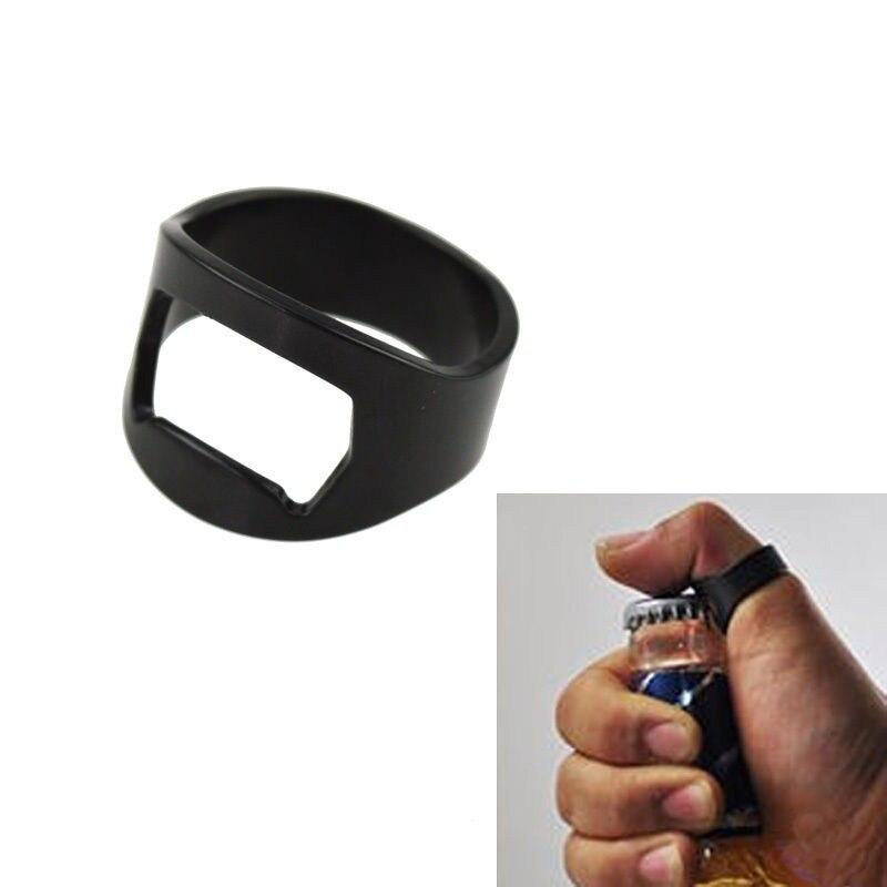 new sale finger ring bottle opener black stainless steel novelty bar beer ope. Black Bedroom Furniture Sets. Home Design Ideas