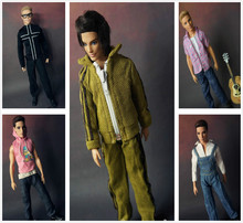 3Sets lot Men Cotton Cloth Coat Suits Casual Outfit Sport Suit Clothes For Barbies Boyfriend Ken