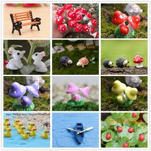 Mini Red Mushroom rabbits ducks tortoise Garden Ornament Miniature Plant Pots Fairy DIY Micro Miniatures Garden Decoration(China)