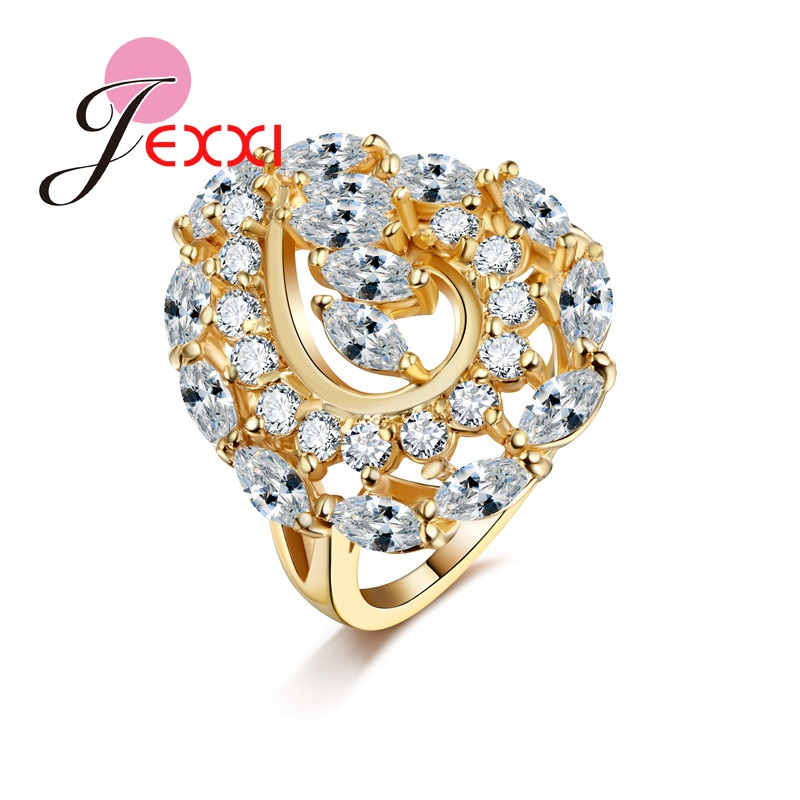 PATICO New Arrival Gardenia Crystal Women Rings Trendy Jewelry Accessary For Cocktail Party Gold Color Ring Unique Design