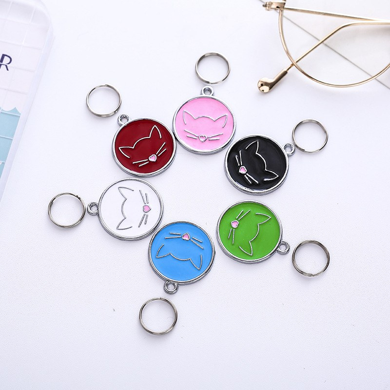 Cats Tag Cat Collar Attachment Hanging Ornament Cat ID Tag For Name Information Preventing Lost Charm Necklace Pendant image