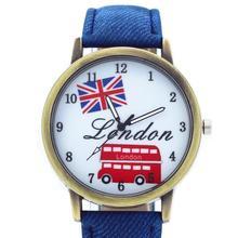 Fashion Watches Casual Flag London Bus Quartz Wristwatch Den