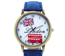 Fashion Watches Casual Flag London Bus Quartz Wristwatch Denim Leather Strap Watch men reloj hombre C31(China)