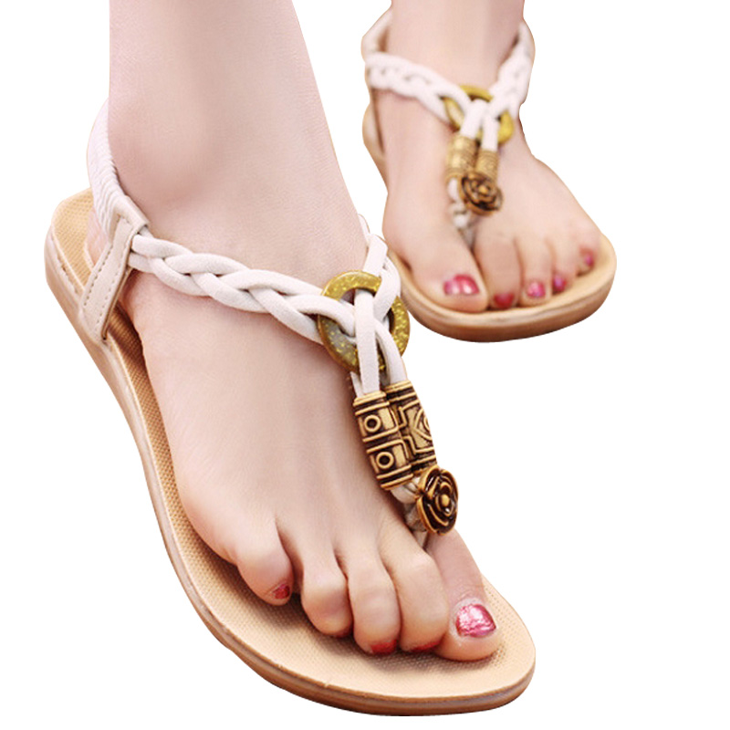 ca3e7fb0df49 Summer Style Women Sandals High Quality Casual Female Girl T Strap Flip  Flops Wedges Flats Heel Thong Ethnic Girl Lady Shoes-in Women s Sandals  from Shoes ...