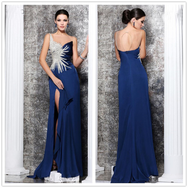 New Arrive Tarik Ediz Dresses A Line Beaded Floor Length Thigh Split Blue  Keyhole Girls Chiffon e16ecf596a84